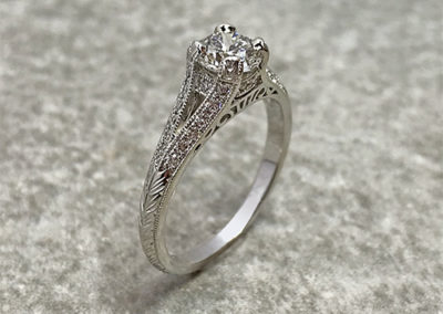 Antique Style Engraved Engagement Ring